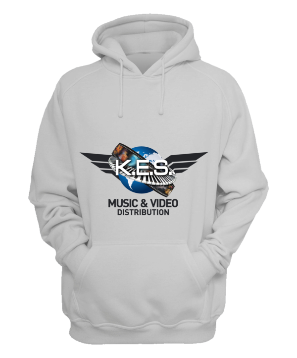 KES Network Colored Logo on White Hoodie