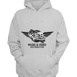 KES Network B&W Logo on White Hoodie