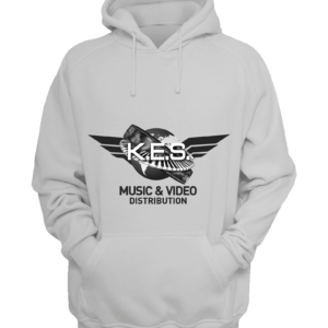 KES Network B&W Logo on White Hoodie