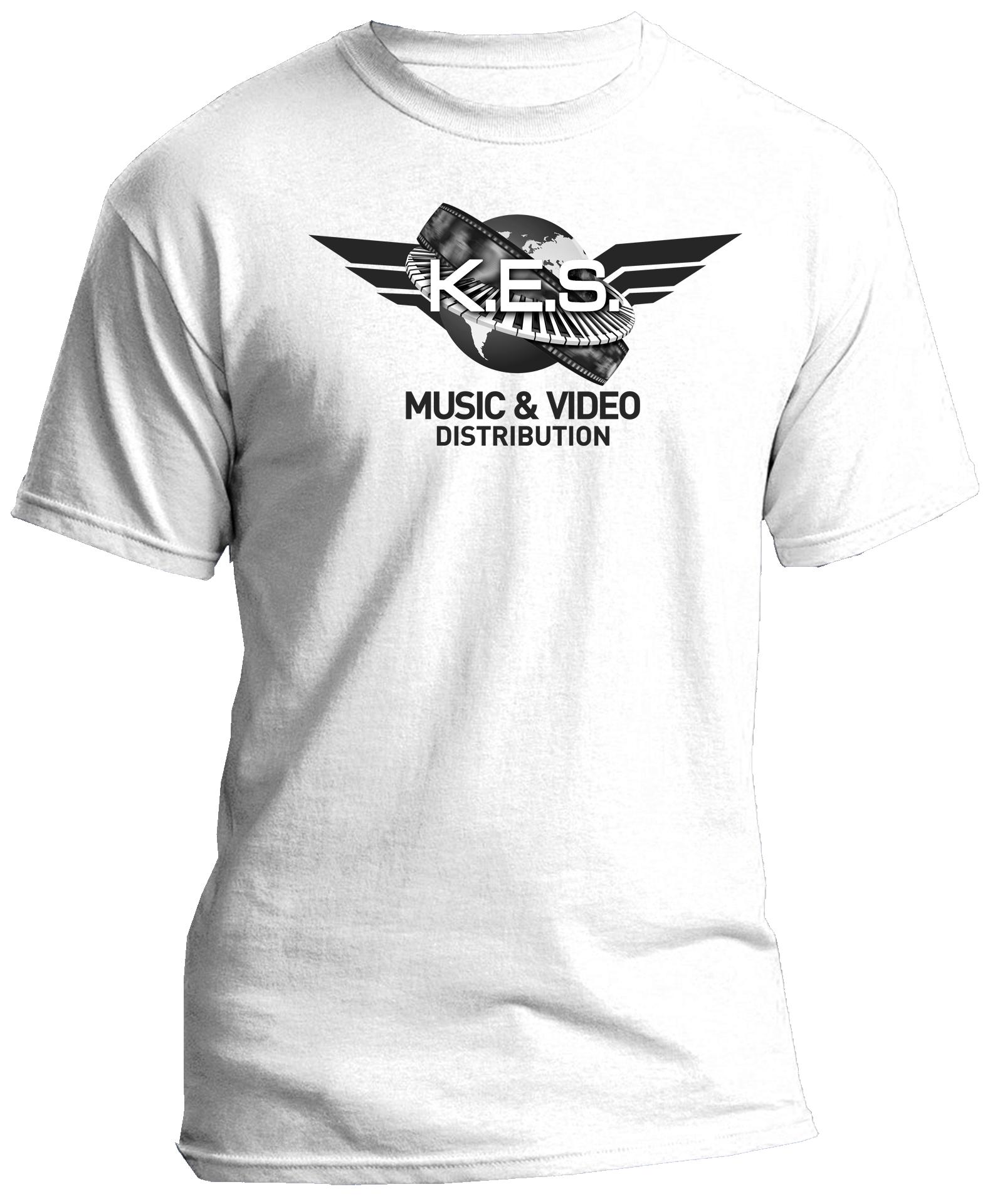KES Network B&W Logo on White Tee
